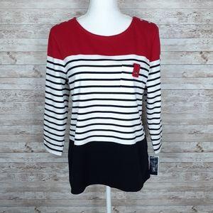 Karen Scott Top Striped Tee Red Black 403